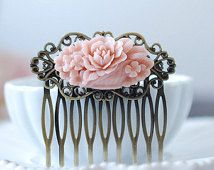 Soft Pink Flower Bouquet Antiqued Brass Filigree Hair Comb. Vintage Inspired Pink Floral Hair Comb