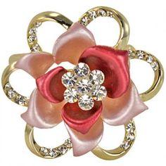 Blooming Rose Flower Crystal Brooch Pin - Pink