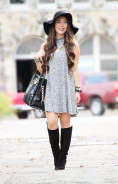 Sleeveless Turtleneck Dress - Fall Outfit