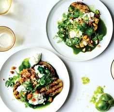 Bon Appetit: Grilled Green Tomatoes With Burrata And Green Juice Get true unripe green tomatoes, not green heirlooms, which are too delicate to grill. As for the green juice, there are some good store-bought ones if you'd rather not make your own.