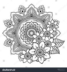 Circular Pattern Form Mandala Flower Henna Stock Vector (Royalty Free) are in the right place ab Mandala Art, Mandala Doodle, Paisley Doodle, Mandala Tattoo Design, Mandala Drawing, Flower Mandala, Mandala Flower Tattoos, Henna Mandala, Mandala Stencils