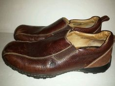 Mens Born Brown Pebble Leather Slip on Loafers Size 12 Shoes in Casual | eBay