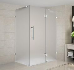 """Aston Avalux 40"""" x 38"""" x 72"""" Stainless Steel/Frosted Glass Frameless Shower Enclosure"""