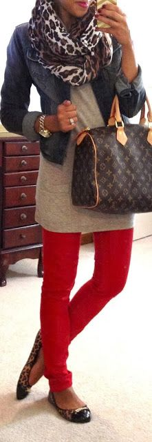 Colored skinnies, long tee, jacket and scarf. Pair with flats or boots