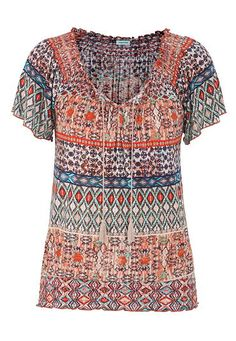 Peasant top with flutter sleeves in ethnic print