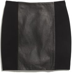 MADEWELL Leather-Panel Skirt ($130) ❤ liked on Polyvore featuring skirts, mini skirts, bottoms, saias, faldas, true black, long skirts, long leather skirt, long stretchy skirts and short long skirts