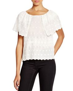 Hoss Intropia Embroidered Flutter Sleeve Top