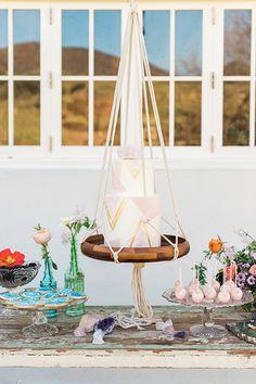Modern wedding cake idea - geometric wedding cake on hanging display {Wisteria Photography}