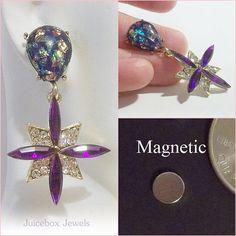 MAGNETIC EarringsPURPLE Opalescent & Rhinestones by JuiceboxJewels