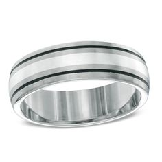 Zales Mens 7.0mm Double Row Bead Wedding Band in Sterling Silver JUohpv
