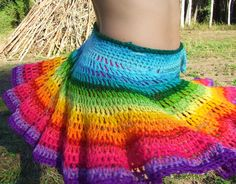Rainbow crocheted full circle draw string skirt make to order. $100.00, via Etsy.