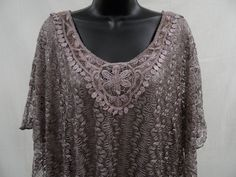 Plus Size 2X SHEER LACE Top STRETCH Shirt LINED Blouse Feminine Evening   NWT #Lavish #KnitTop