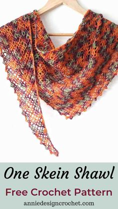 One Skein Crochet Shawl Copper Beech - Free Pattern - Annie Design Crochet One Skein Crochet, Crochet Shawl Free, Bag Crochet, Crochet Shawls And Wraps, Crochet Basics, Crochet Scarves, Lace Shawls, Crochet Cowls, Knit Cowl