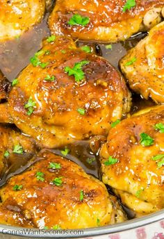 My Honey Garlic Recipe is a chicken dinner the whole Family will LOVE! It's finger lickin' yummy chicken. Sweet, tender and juicy, the sauce is absolutey to-die-for delicious. Simple and easy to make. Starts on the stovetop then finishes to perfection in the oven. Honey Garlic Chicken will bring everyone to the table!