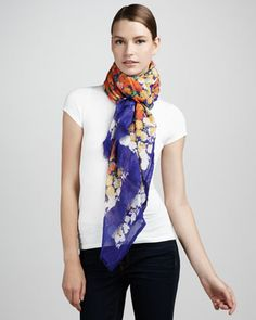 Floral-Print Scarf, Violet by Marc Jacobs at Neiman Marcus.