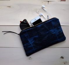Bleached Reverse Tie Dyed Indigo Denim Zippered Pouch with Ultrasuede Pull