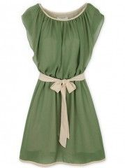 Bowknot Belt Assorted Colors Alluring Chiffon Round Neck Skater-dresses