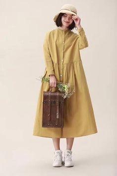 2019 Cotton Linen Spring Fall Casual Shirt Dresses For Women 19105