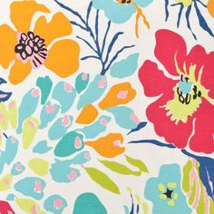 The Outlet | Hot House Floral Summer Cut Yardage | Make a muted backdrop zing with our tropical blooms and foliage on timeless cotton. Fabric is priced per yard. Please contact customer service to place order 877 586 4771.