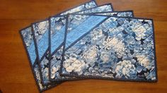 Quilted placemats with an Asian flair. by DesignsbyBJ on Etsy Blue Placemats, Table Runner And Placemats, Table Runner Pattern, Quilted Table Runners, Quilt Placemats, Small Quilts, Mini Quilts, Bazaar Crafts, Christmas Placemats