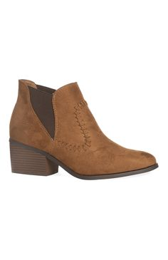 Tan Whipstitch Ankle Boot