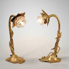 Pair of Art Nouveau Gold-plated Table Lamps. | Auction 2912M | Lot 61 | Sold for $1,845