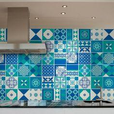 Indigo tile stickers.