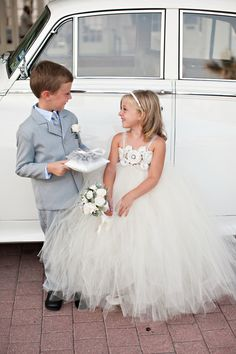 I am in LOVE with this flower girl dress & the little grey suit for the ring bearer!
