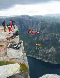 Base Jumping in nature off Kjerag Mountain, Norway Base Jumping, Bungee Jumping, Parkour, Paragliding, Skydiving, Adventure Is Out There, Places Around The World, Bouldering, Rock Climbing