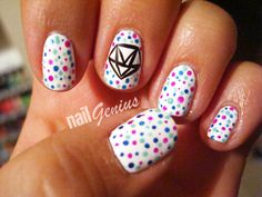 Dotted Diamond Nail Art Tutorial.  http://youtu.be/ykiPkJO_VSE