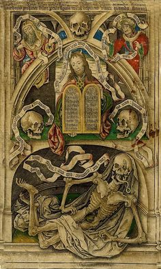 Medieval Illuminations - Allegory of The Transience of Life, Engraving with hand color made by Master IAM of Zwolle, Netherlands. Memento Mori, Vanitas, La Danse Macabre, Art Noir, Dance Of Death, Death God, Templer, Arte Horror, Fan Art