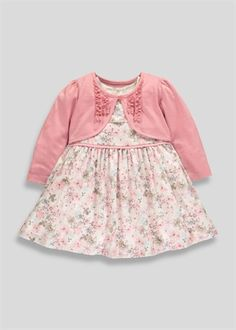Girls 2 Piece Floral Dress And Cardigan Set (Tiny Baby-18mths)