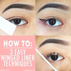 The most classic and iconic eye makeup look has to be winged eyeliner or the cat-eye. Everyone's got their own unique way of doing their winged liner but a lot of people have some issues with getting their line down straight and even. Today, I'm going to share my three customizable techniques to complete your own perfect winged liner look. The first method is the classic scotch-tape method (stick the tape onto your skin first and then to your eye to decrease the amount of adhesive tha...