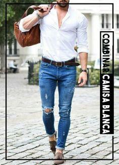8adb74dc27 Combinar camisa blanca de hombre outfit para que des una buena impresion y  vistas a la