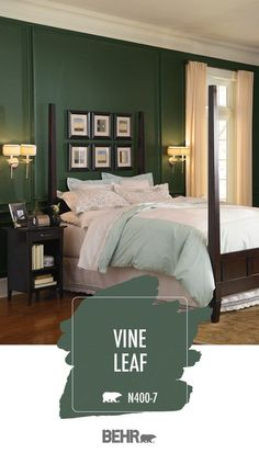 If you're looking for a dark and moody wall color for your next DIY home makeover project, explore this forest green paint color palette. Deep Behr Paint shades like Vine Leaf, Silken Pine, and Pinecone Hill are sure to add a touch of drama to your walls. Click below for more interior design inspiration.