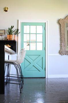 Little Green Notebook: Arsenic Kitchen Doors Laundry Room Doors, Kitchen Doors, Home Design, Interior Design, Green Front Doors, Little Green Notebook, Home Blogs, Black Interior Doors, Door Paint Colors
