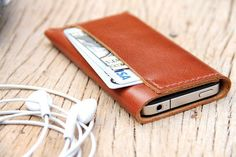 Mens Leather Wallet for iPhone 4s 5s 5c , Hand Stitched Leather iPhone Case , Personalized Leather Card Case , Custom Phone Wallet