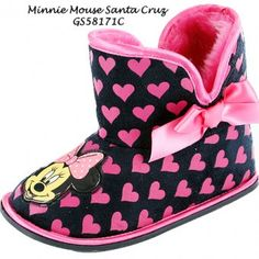 Minnie Mouse Santa Cruz Bootie Slippers with hard grip non slip soles. Soft warm lining with a spongy softbed with picture of Minnie Mouse on the front, pink bow to the side and all over pink heart shapes. Available in sizes 6, 7, 8, 9, 10,11,12. All Minnie Mouse fans will love these stylish slippers.