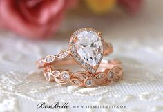 Etsy 2.95 ct.tw Art Deco Bridal Set-Pear Halo Engagement Ring w/ Leaf & Vine Vintage Wedding Ring-Rose Gold ad
