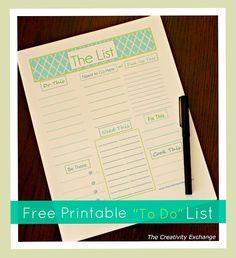 """Free Printable """"To Do"""" List..."""