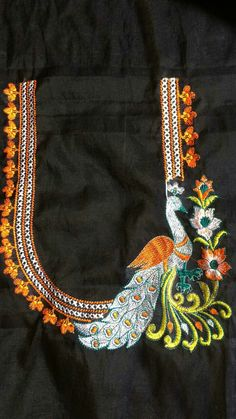 Hand Work Blouse Design, Simple Blouse Designs, Saree Blouse Neck Designs, Stylish Blouse Design, Bridal Blouse Designs, Chudidhar Neck Designs, Hand Designs, Peacock Embroidery Designs, Kurti Sleeves Design