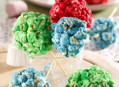 Popcorn and marshmallow balls • Kids will love the colourful combination of popcorn and marshmallows – and it's an affordable option for a children's party.