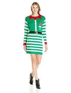 1723fd147f24cc Shop a great selection of Allison Brittney Women s Elf Santas Little Helper  Ugly Christmas Sweater Tunic Dress. Find new offer and Similar products for  ...