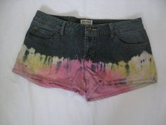 tie dyed upcycled blue jean shorts color Orange Pink by crazicandi, $20.00