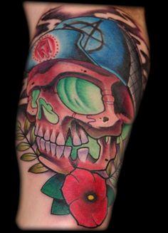 16 Best New School Skull And Cross Tattoo Designs Images Sugar