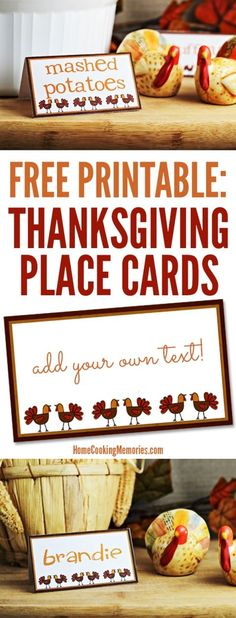 Free Thanksgiving Printable! These Thanksgiving Place Cards have a fun doodled turkey. Add your own text to label food on a buffet table or to assign seating at your Thanksgiving table.