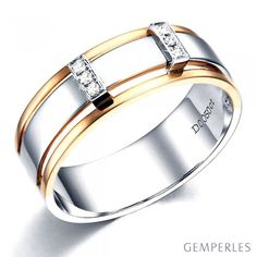 Bague 2 ors Homme - Or rose et blanc 18cts - 6 Diamants