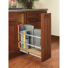 Rev-A-Shelf in. H x 5 in. D Pull-Out Wood Foil Wrap/Tray Divider Cabinet Organizer with Soft-Close - The Home Depot Fixer Upper, Blind Corner Cabinet, Corner Pantry Cabinet, Corner Kitchen Pantry, Corner Cabinets, Corner Storage, Organized Kitchen, Baking Storage, Kitchen Drawer Organization