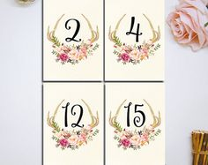 Hochzeit Tischnummern druckbare Pink Floral von HappyLifePrintables
