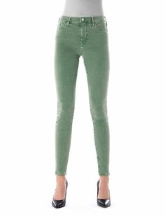 COJ Sophia Colored Middle Green Reshaped Jeans - Constyle